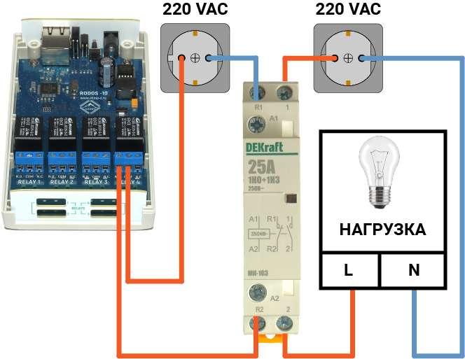 Рис.8 - Схема подключения контактора к Ethernet реле на 4 релейных канала RODOS-10 для управления мощной нагрузкой