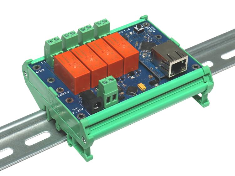 Рис.1 - Монтаж интернет реле RODOS-10 Open Frame на DIN-рейку при помощи корпуса Sanhe 23-59 - вид сбоку