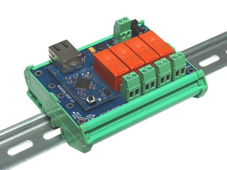 Рис.2 - Монтаж интернет реле RODOS-10 Open Frame на DIN-рейку при помощи корпуса Sanhe 23-59 - вид сбоку