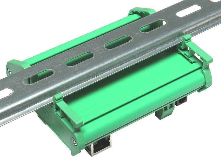 Рис.3 - Монтаж интернет реле RODOS-10 Open Frame на DIN-рейку при помощи корпуса Sanhe 23-59 - вид сзади