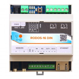 Интернет термостат/гигростат c 2-мя релейными каналами и логическими входами/выходами RODOS-16 DIN фото #2