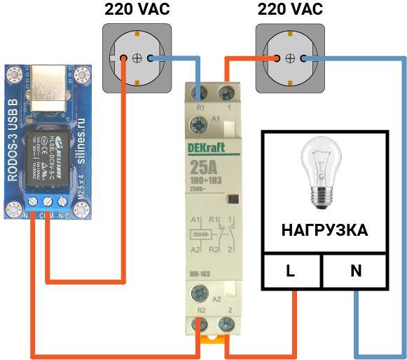 Схема подключения к RODOS-3 USB B