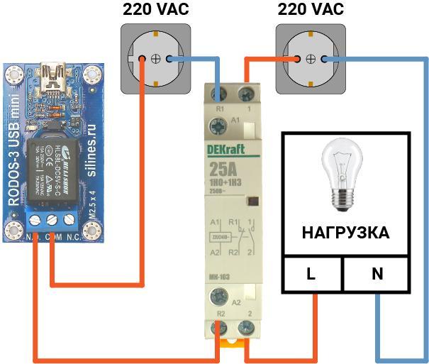Схема подключения к RODOS-3 mini USB