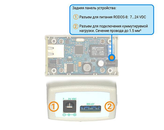 IP реле RODOS-8 - задняя панель