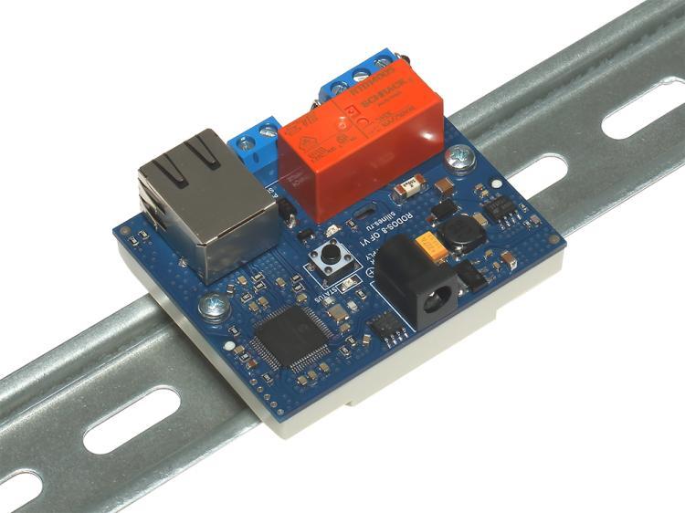 Рис.1 - Монтаж RODOS-8 Open Frame на DIN-рейку при помощи корпуса Sanhe 23-60 - вид сбоку
