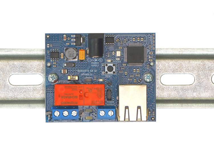 Рис.3 - Монтаж RODOS-8 Open Frame на DIN-рейку при помощи корпуса Sanhe 23-60 - вид сверху