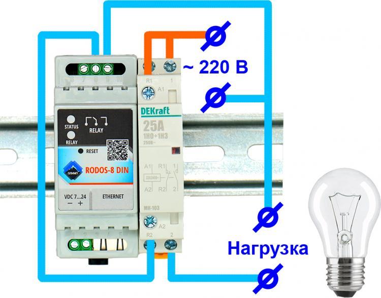 Ethernet реле. Подключение контактора