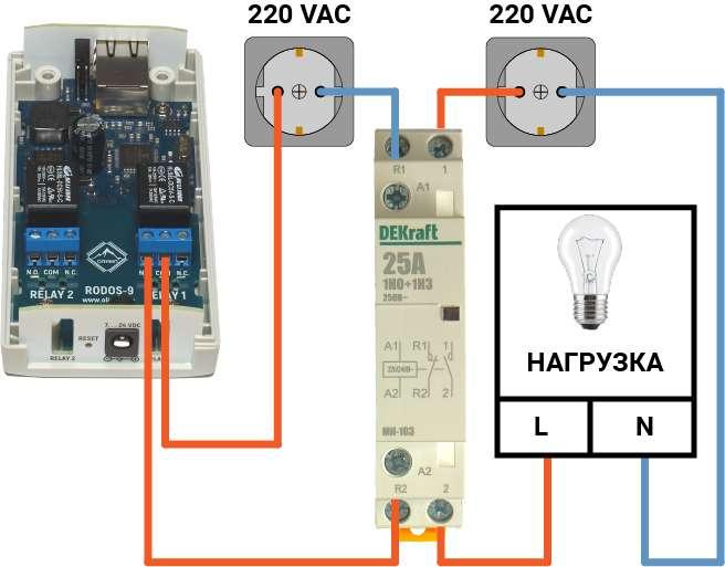 Подключение контактора к интернет-реле RODOS-9
