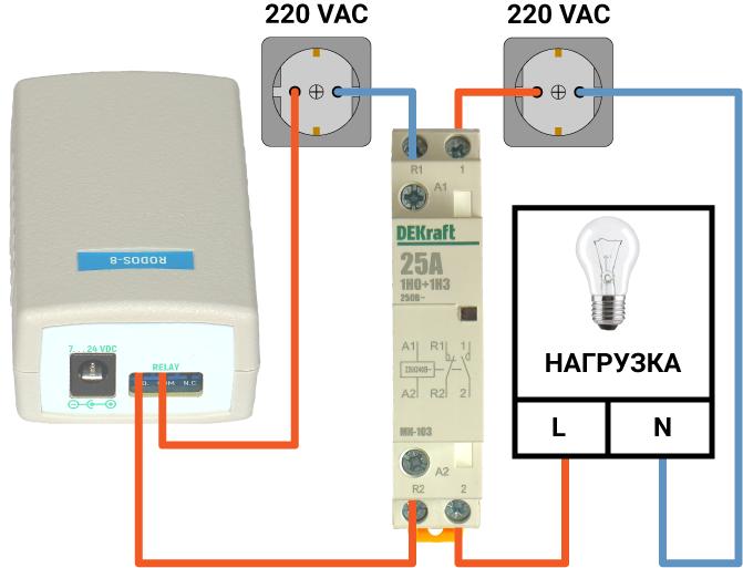 Подключение контактора к IP реле RODOS-8